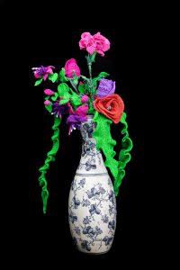 Crochet Flowers in Antique Vase