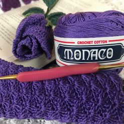 Monaco Crochet Thread with Lyns Rose and eye glass cozy