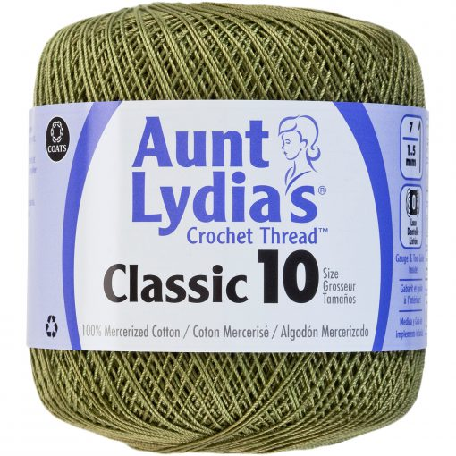 Aunt Lydia's Classic Crochet Thread Size 10-Olive