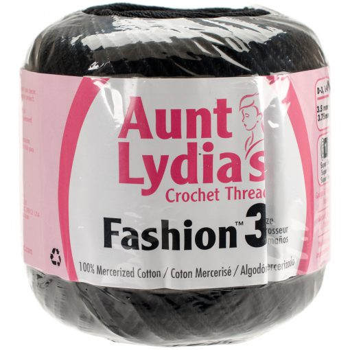 Aunt Lydia's Crochet Thread Size 3-Black