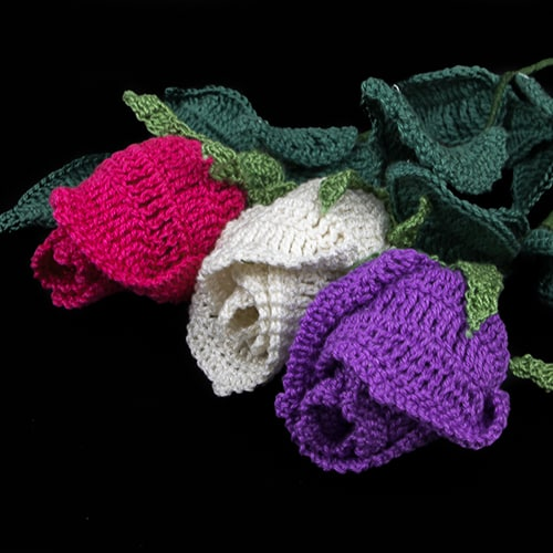 Long Stem Rose Made with Monaco Cotton Crochet Thread