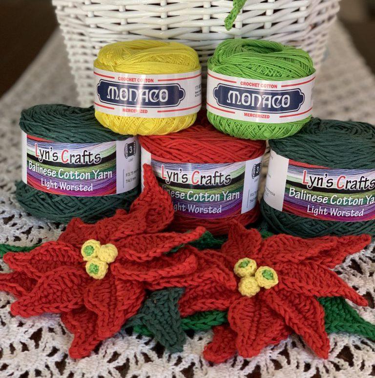 Crochet Poinsettia made with Balinese Cotton Yarn and Monaco Crochet Thread