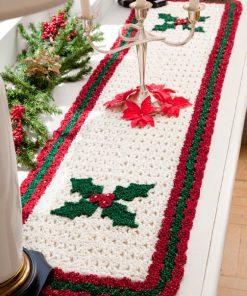 Holly Table Runner Free Crochet Patter