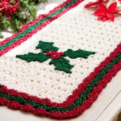 Holly Table Runner Free Crochet Pattern